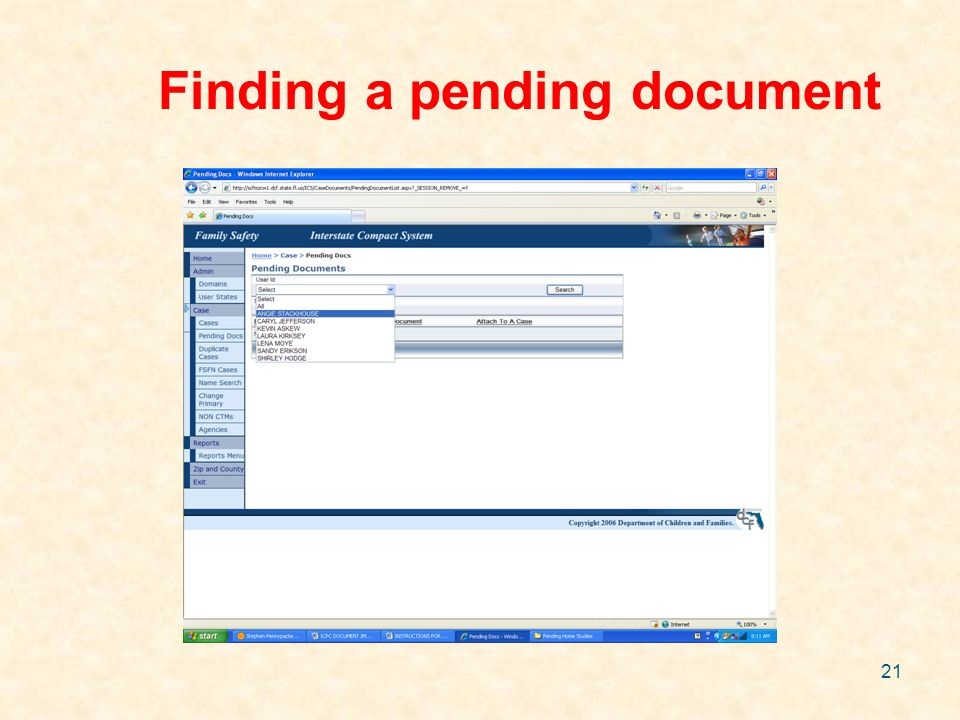 21 Finding a pending document