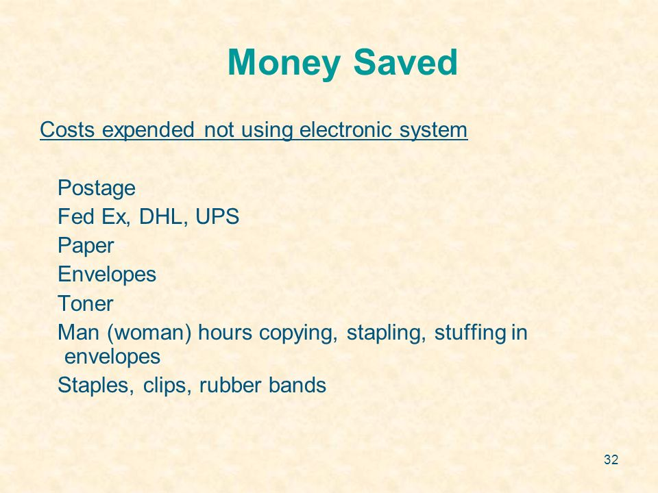 32 Money Saved Costs expended not using electronic system Postage Fed Ex, DHL, UPS Paper Envelopes Toner Man (woman) hours copying, stapling, stuffing in envelopes Staples, clips, rubber bands