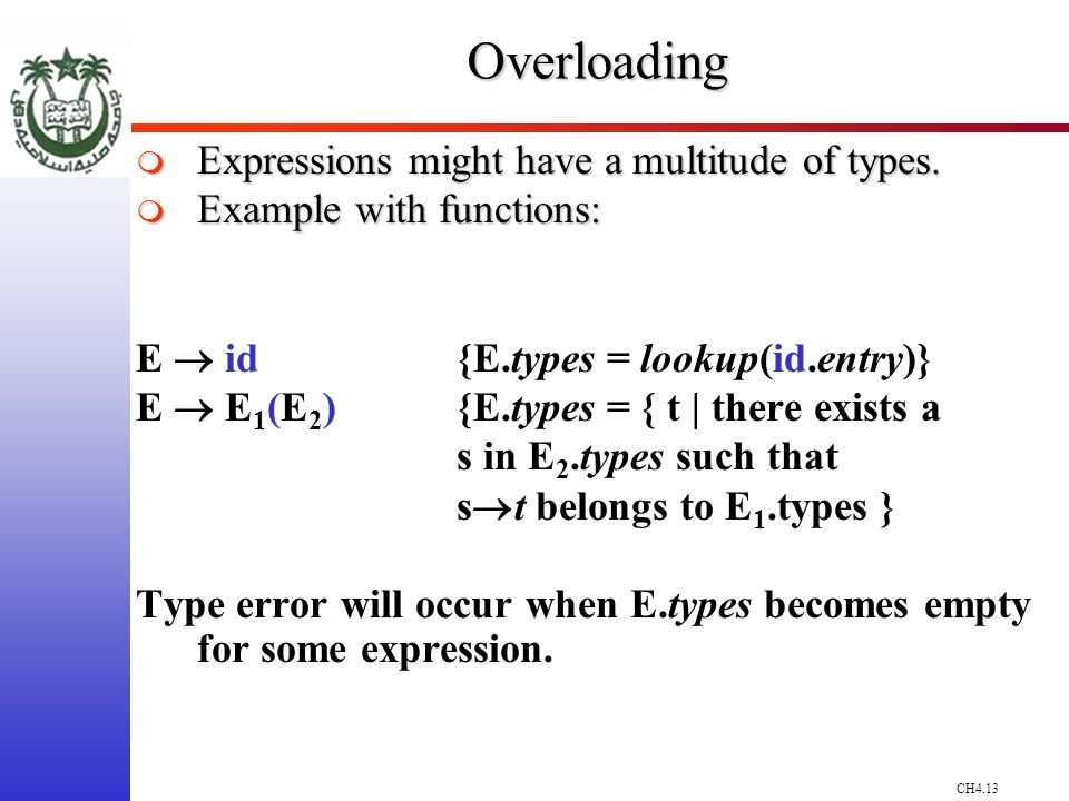 CH4.13Overloading Expressions might have a multitude of types.