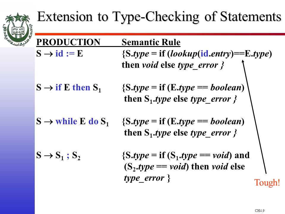 CH4.9 Extension to Type-Checking of Statements PRODUCTIONSemantic Rule S id := E{S.type = if (lookup(id.entry)==E.type) then void else type_error } S if E then S 1 {S.type = if (E.type == boolean) then S 1.type else type_error } S while E do S 1 {S.type = if (E.type == boolean) then S 1.type else type_error } S S 1 ; S 2 {S.type = if (S 1.type == void) and (S 2.type == void) then void else type_error } Tough!