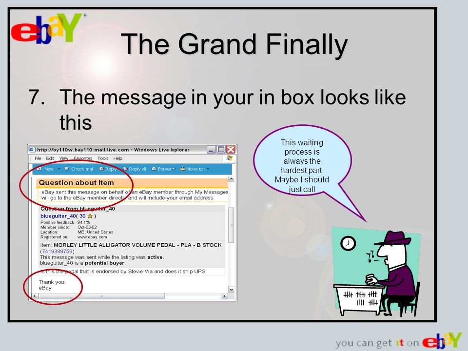 The Grand Finally 7.The message in your in box looks like this This waiting process is always the hardest part.