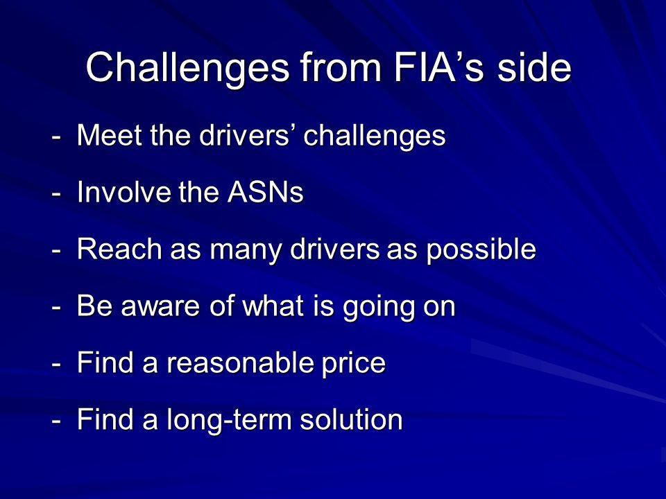 Challenges from FIAs side -Meet the drivers challenges -Involve the ASNs -Reach as many drivers as possible -Be aware of what is going on -Find a reasonable price -Find a long-term solution