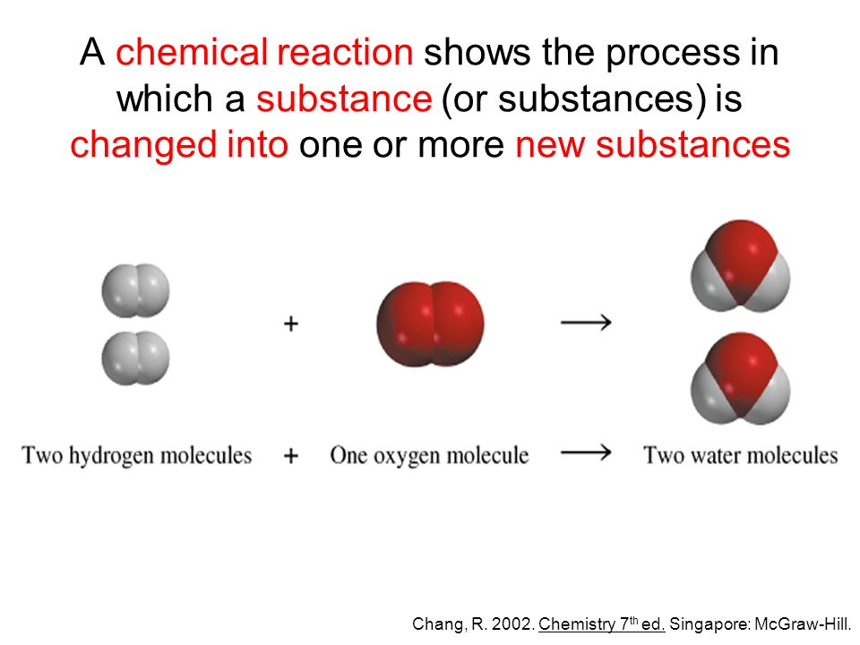 A chemical reaction shows the process in which a substance (or substances) is changed into one or more new substances Chang, R.