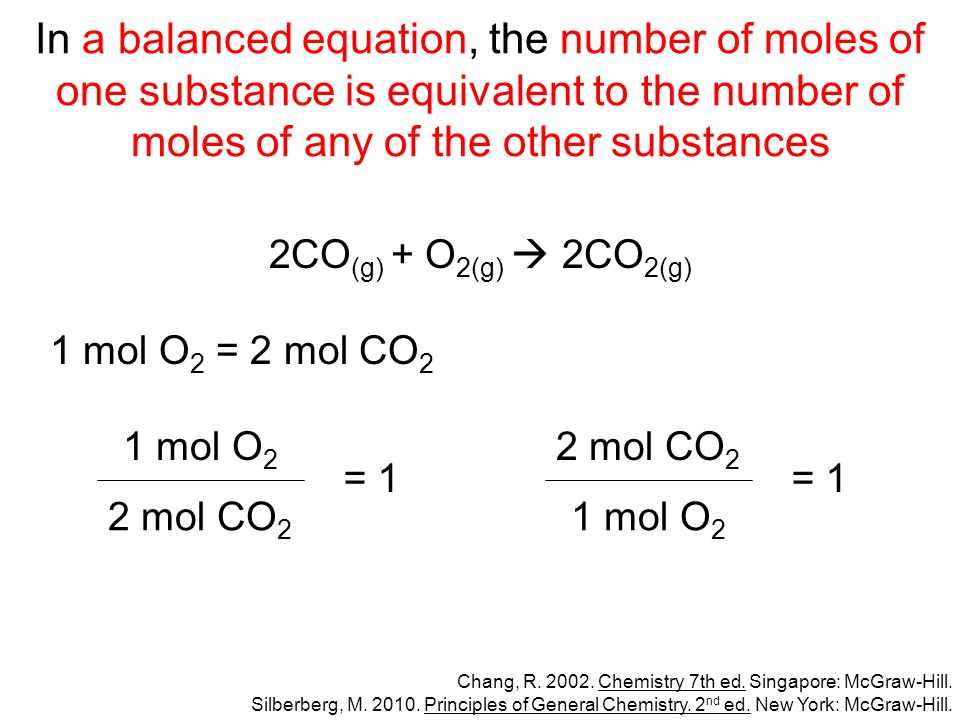 In a balanced equation, the number of moles of one substance is equivalent to the number of moles of any of the other substances 2CO (g) + O 2(g) 2CO 2(g) 1 mol O 2 = 2 mol CO 2 Chang, R.