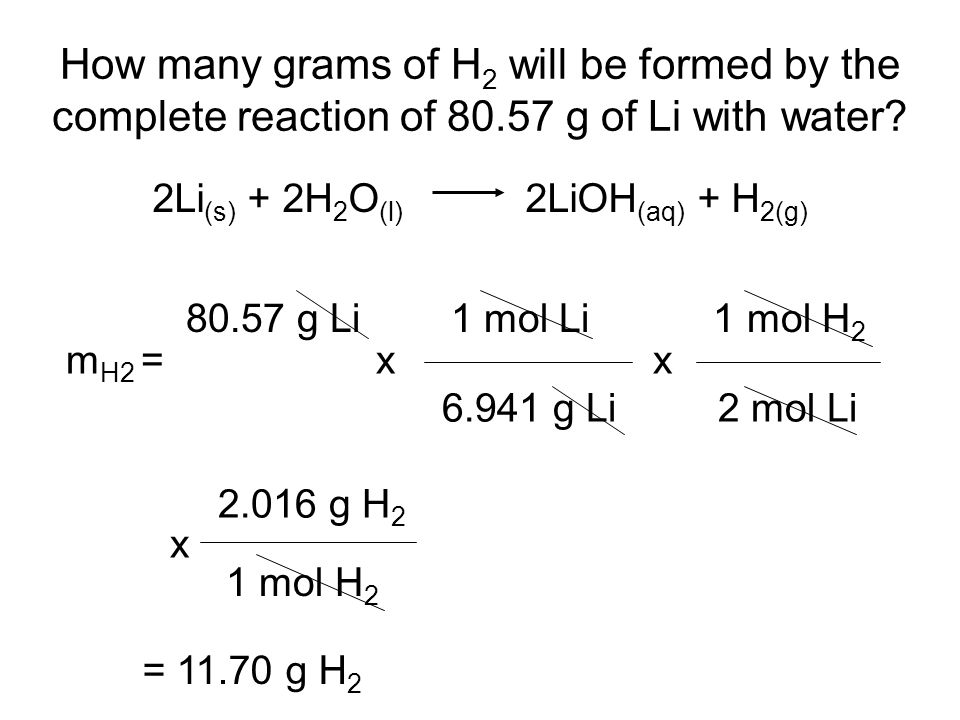 How many grams of H 2 will be formed by the complete reaction of g of Li with water.