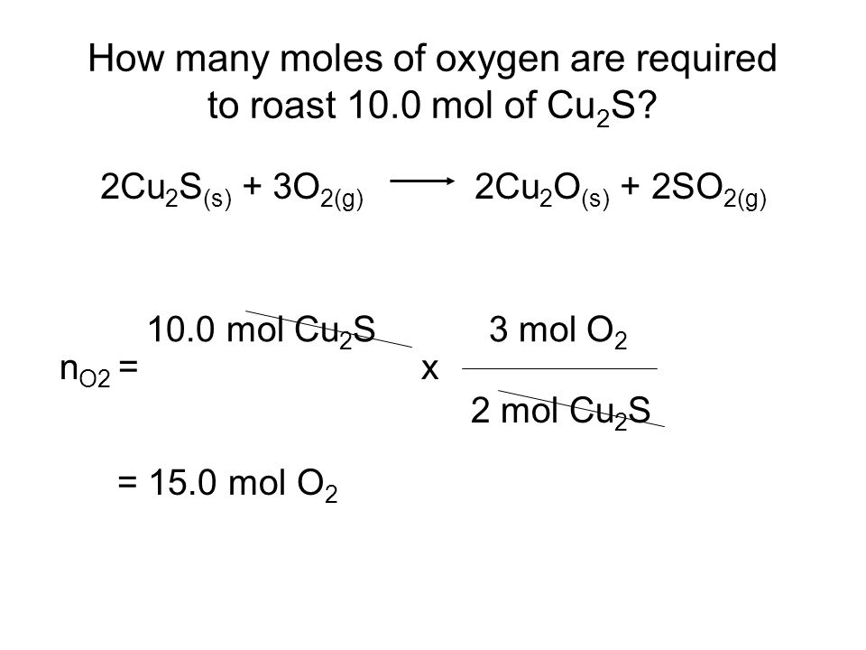How many moles of oxygen are required to roast 10.0 mol of Cu 2 S.