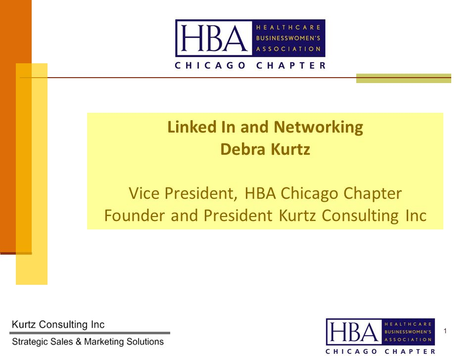1 Linked In and Networking Debra Kurtz Vice President, HBA Chicago Chapter Founder and President Kurtz Consulting Inc