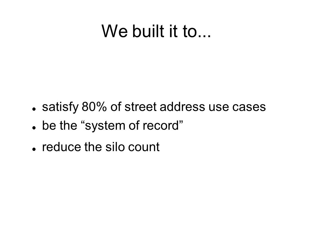 satisfy 80% of street address use cases be the system of record reduce the silo count We built it to...