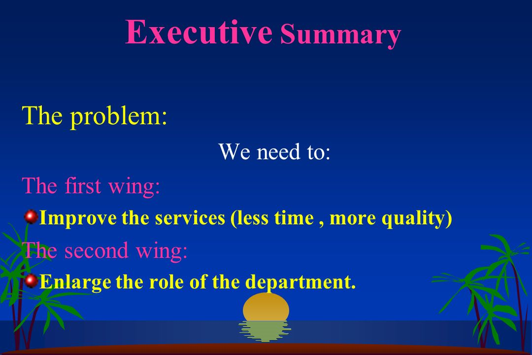 Executive Summary The problem: We need to: The first wing: Improve the services (less time, more quality) The second wing: Enlarge the role of the department.