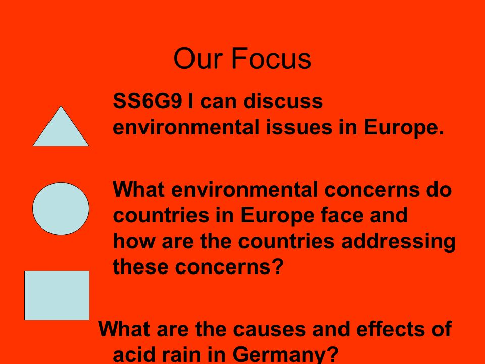 Our Focus SS6G9 I can discuss environmental issues in Europe.