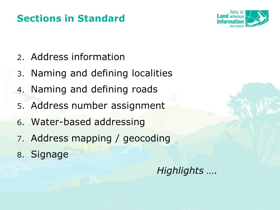 Sections in Standard 2. Address information 3. Naming and defining localities 4.