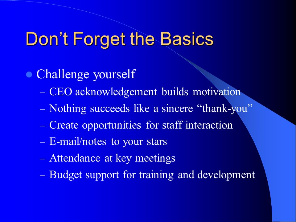 Dont Forget the Basics Challenge yourself – CEO acknowledgement builds motivation – Nothing succeeds like a sincere thank-you – Create opportunities for staff interaction –  /notes to your stars – Attendance at key meetings – Budget support for training and development