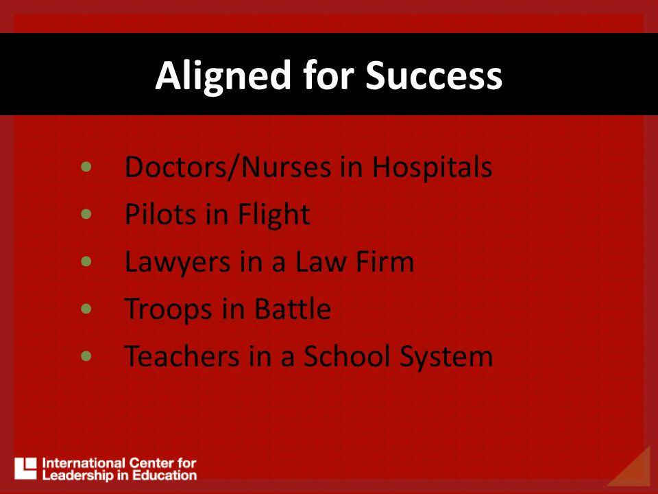 Aligned for Success Doctors/Nurses in Hospitals Pilots in Flight Lawyers in a Law Firm Troops in Battle Teachers in a School System