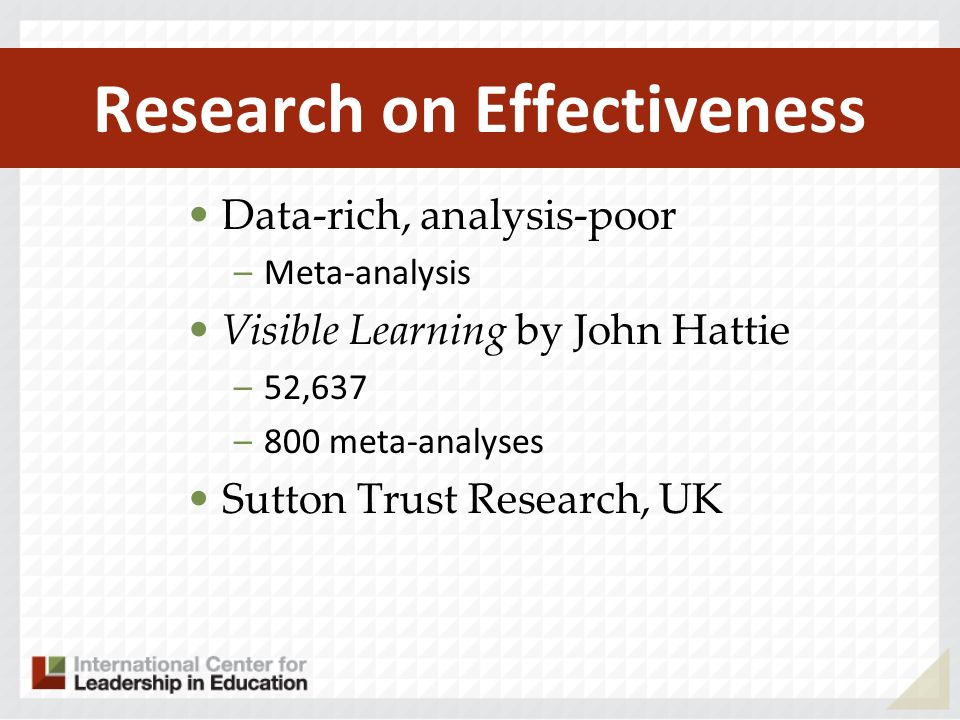 Research on Effectiveness Data-rich, analysis-poor –Meta-analysis Visible Learning by John Hattie –52,637 –800 meta-analyses Sutton Trust Research, UK