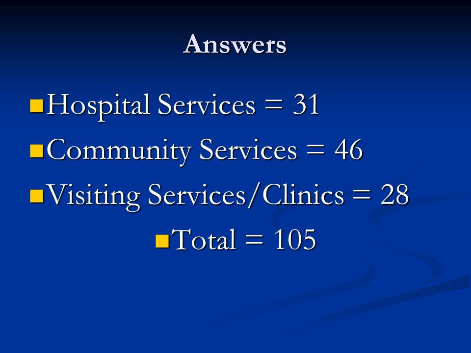 Answers Hospital Services = 31 Hospital Services = 31 Community Services = 46 Community Services = 46 Visiting Services/Clinics = 28 Visiting Services/Clinics = 28 Total = 105 Total = 105