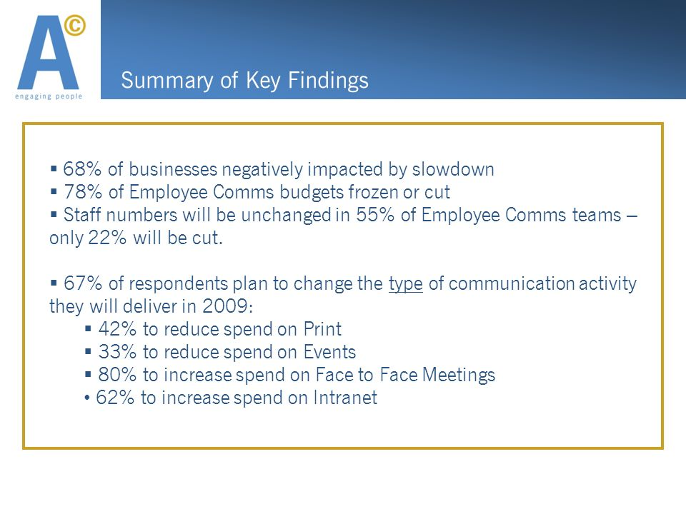 Summary of Key Findings 68% of businesses negatively impacted by slowdown 78% of Employee Comms budgets frozen or cut Staff numbers will be unchanged in 55% of Employee Comms teams – only 22% will be cut.
