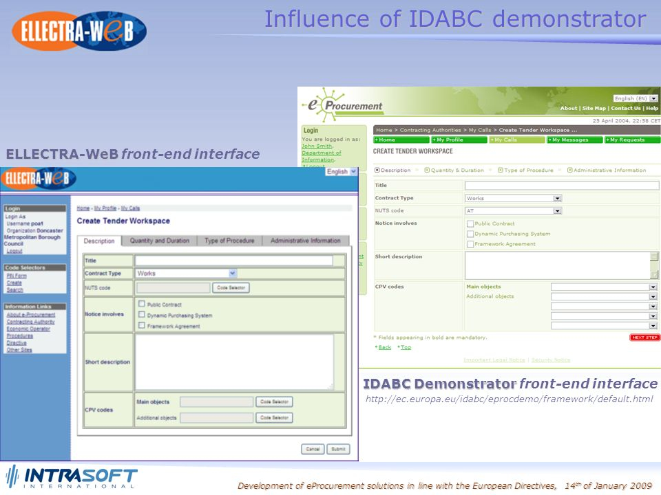 Development of eProcurement solutions in line with the European Directives, 14 th of January 2009 IDABC Demonstrator IDABC Demonstrator front-end interface   Influence of IDABC demonstrator ELLECTRA-WeB ELLECTRA-WeB front-end interface