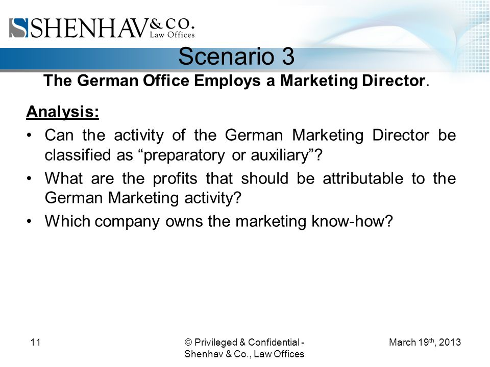 © Privileged & Confidential - Shenhav & Co., Law Offices 11 Scenario 3 The German Office Employs a Marketing Director.
