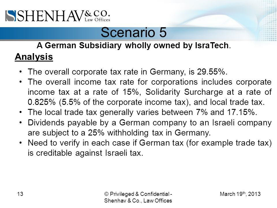 © Privileged & Confidential - Shenhav & Co., Law Offices 13 Scenario 5 A German Subsidiary wholly owned by IsraTech.