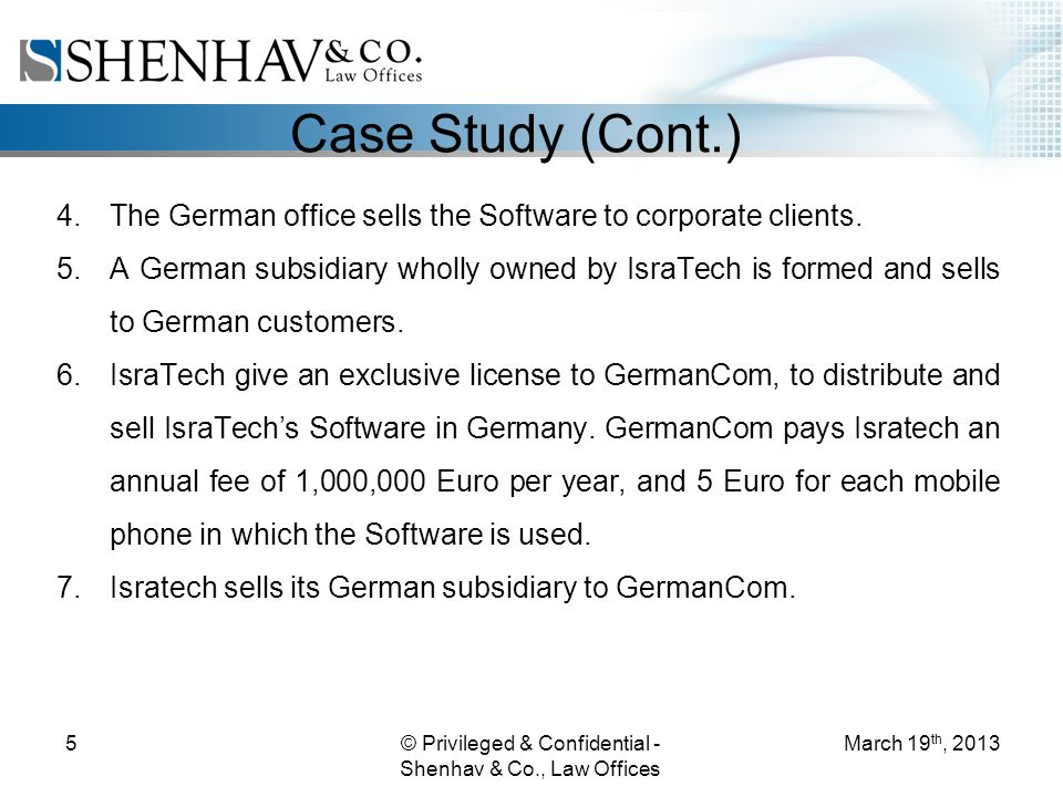 © Privileged & Confidential - Shenhav & Co., Law Offices 5 Case Study (Cont.) 4.The German office sells the Software to corporate clients.