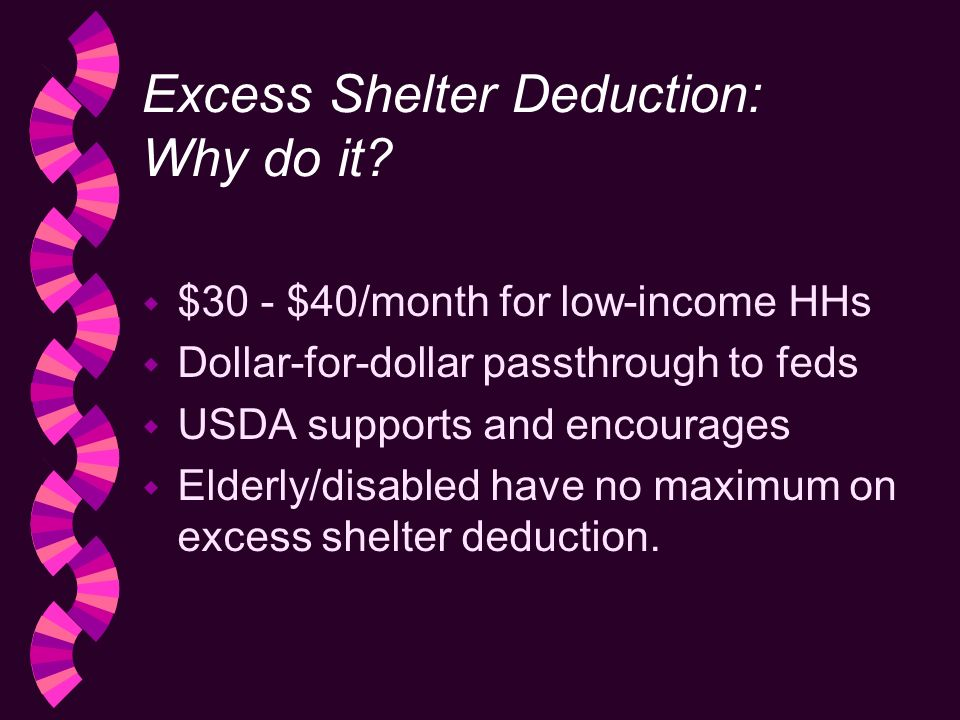 Excess Shelter Deduction: Why do it.