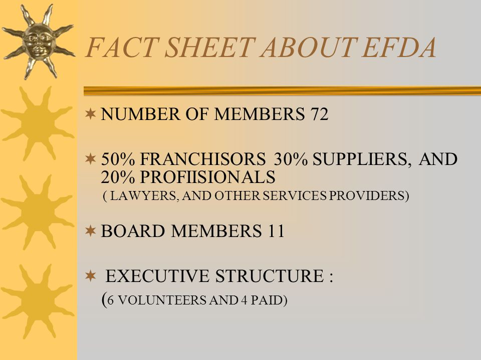 FACT SHEET ABOUT EFDA NUMBER OF MEMBERS 72 50% FRANCHISORS 30% SUPPLIERS, AND 20% PROFIISIONALS ( LAWYERS, AND OTHER SERVICES PROVIDERS) BOARD MEMBERS 11 EXECUTIVE STRUCTURE : ( 6 VOLUNTEERS AND 4 PAID)