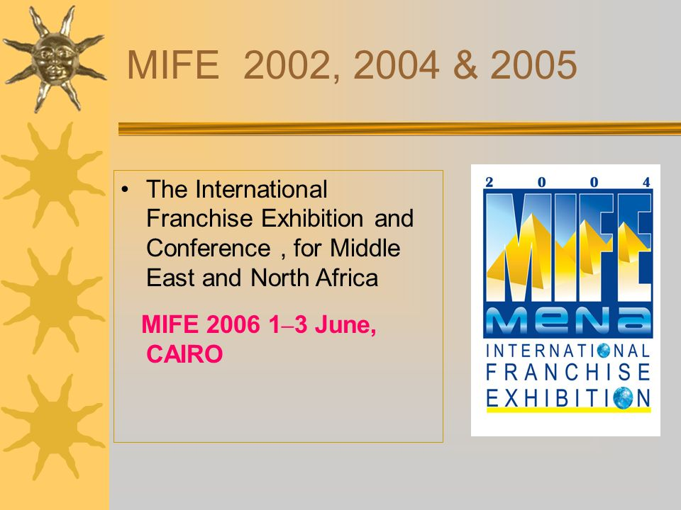 MIFE 2002, 2004 & 2005 The International Franchise Exhibition and Conference, for Middle East and North Africa MIFE 2006 1 – 3 June, CAIRO