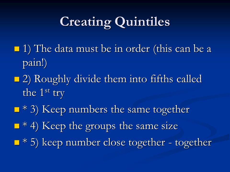 Creating Quintiles 1) The data must be in order (this can be a pain!) 1) The data must be in order (this can be a pain!) 2) Roughly divide them into fifths called the 1 st try 2) Roughly divide them into fifths called the 1 st try * 3) Keep numbers the same together * 3) Keep numbers the same together * 4) Keep the groups the same size * 4) Keep the groups the same size * 5) keep number close together - together * 5) keep number close together - together