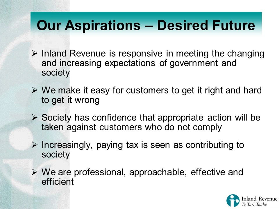 Inland Revenue is responsive in meeting the changing and increasing expectations of government and society We make it easy for customers to get it right and hard to get it wrong Society has confidence that appropriate action will be taken against customers who do not comply Increasingly, paying tax is seen as contributing to society We are professional, approachable, effective and efficient Our Aspirations – Desired Future