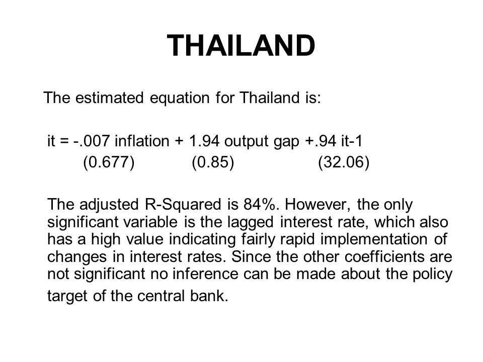 THAILAND The estimated equation for Thailand is: it = inflation output gap +.94 it-1 (0.677) (0.85) (32.06) The adjusted R-Squared is 84%.
