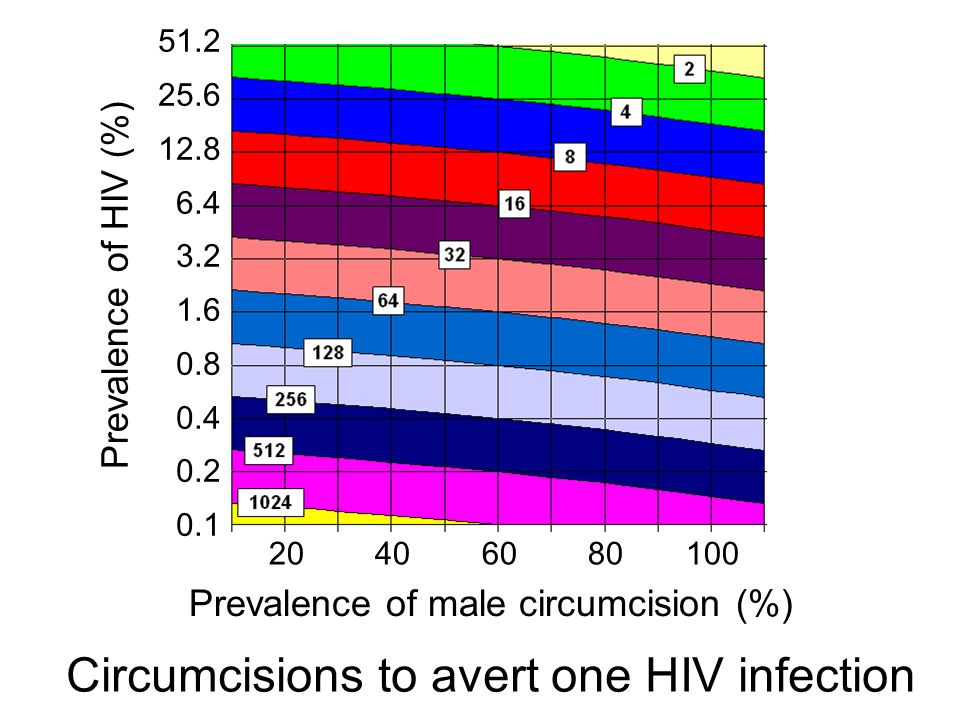 Circumcisions to avert one HIV infection Prevalence of HIV (%) Prevalence of male circumcision (%)