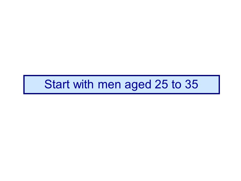 Start with men aged 25 to 35