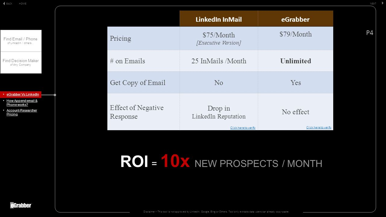 ROI ROI = 10x NEW PROSPECTS / MONTH Disclaimer - This tool is not approved by LinkedIn, Google, Bing or Others.