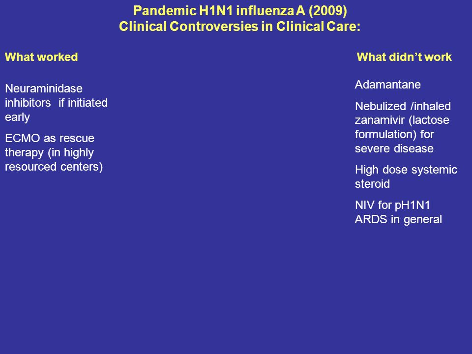 Pandemic H1N1 influenza A (2009) Clinical Controversies in Clinical Care: What worked What didnt work Neuraminidase inhibitors if initiated early ECMO as rescue therapy (in highly resourced centers) Adamantane Nebulized /inhaled zanamivir (lactose formulation) for severe disease High dose systemic steroid NIV for pH1N1 ARDS in general