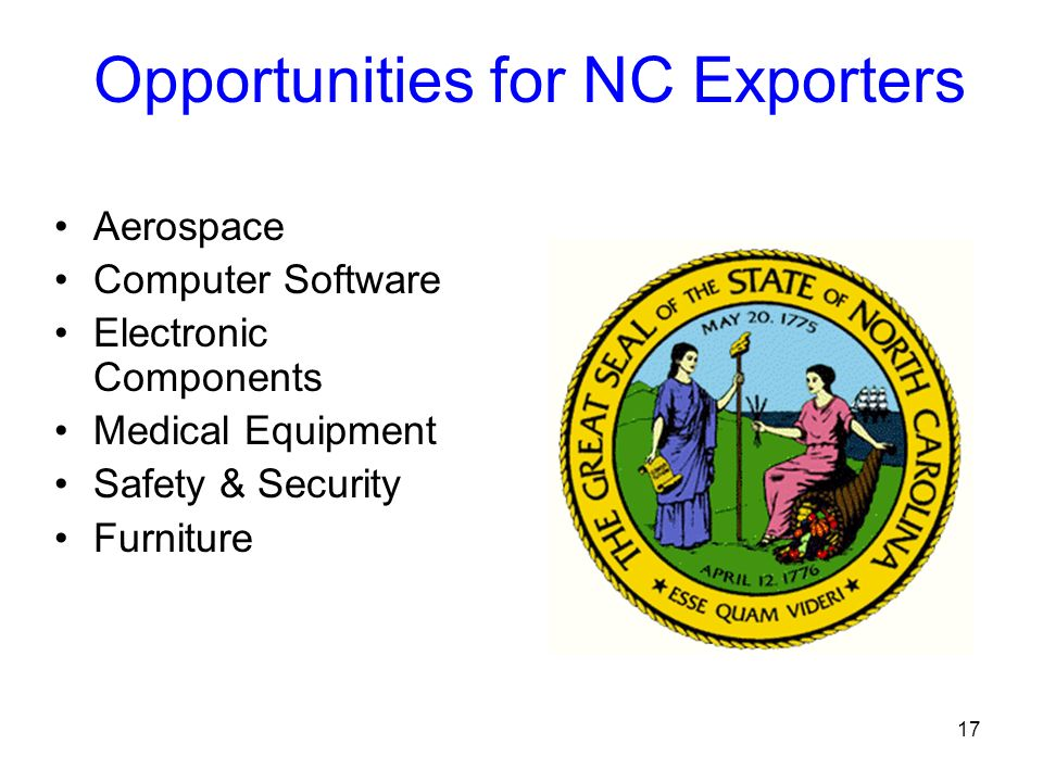17 Opportunities for NC Exporters Aerospace Computer Software Electronic Components Medical Equipment Safety & Security Furniture