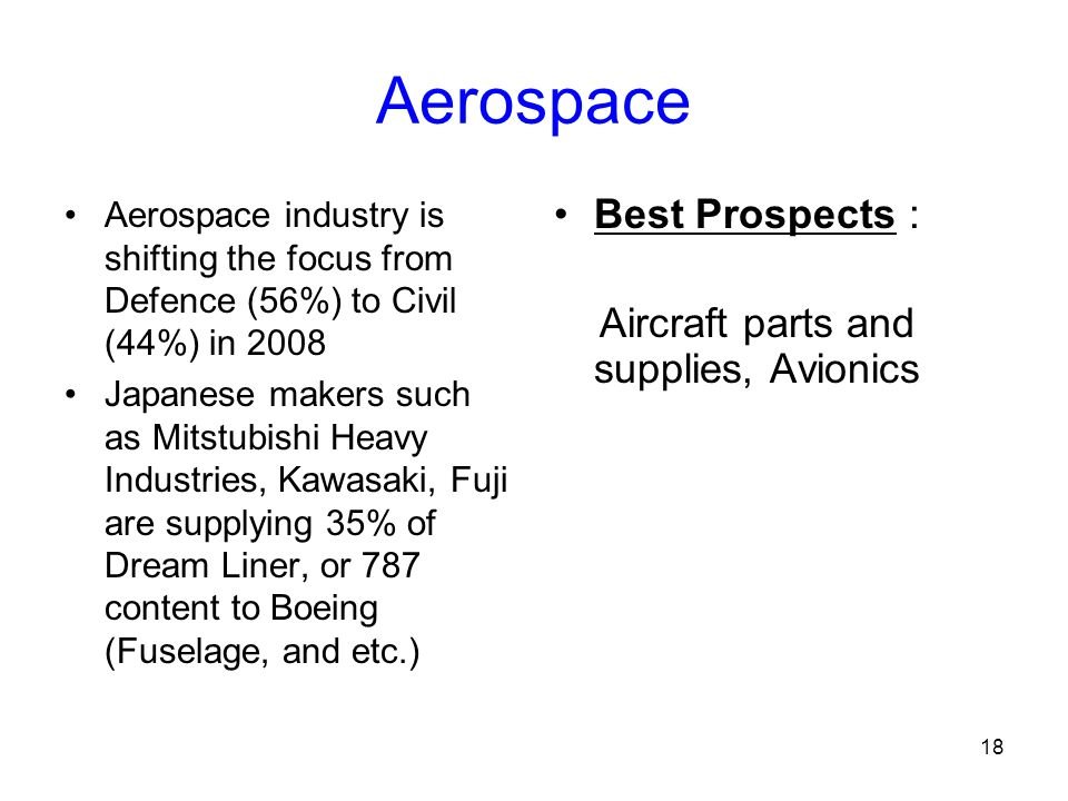 18 Aerospace Aerospace industry is shifting the focus from Defence (56%) to Civil (44%) in 2008 Japanese makers such as Mitstubishi Heavy Industries, Kawasaki, Fuji are supplying 35% of Dream Liner, or 787 content to Boeing (Fuselage, and etc.) Best Prospects : Aircraft parts and supplies, Avionics
