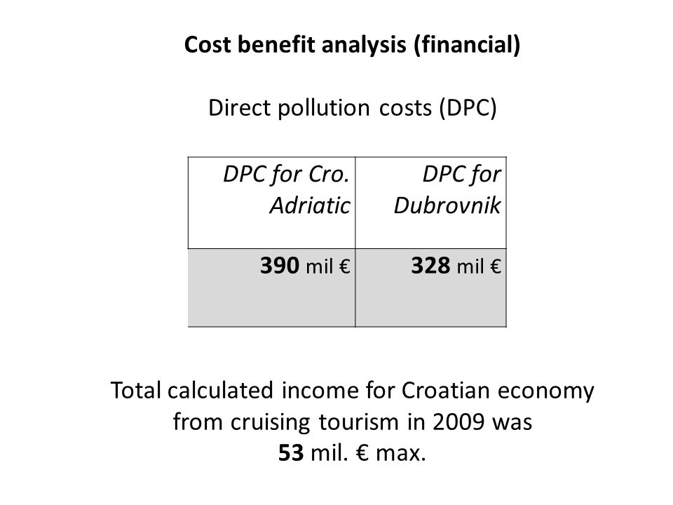 Cost benefit analysis (financial) Direct pollution costs (DPC) Total calculated income for Croatian economy from cruising tourism in 2009 was 53 mil.