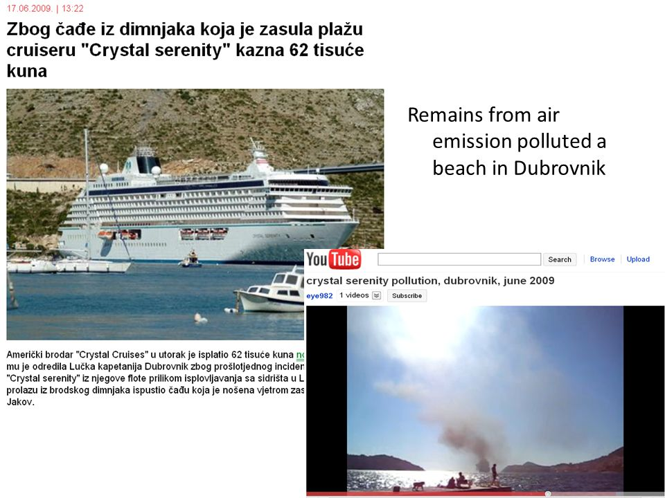 Remains from air emission polluted a beach in Dubrovnik