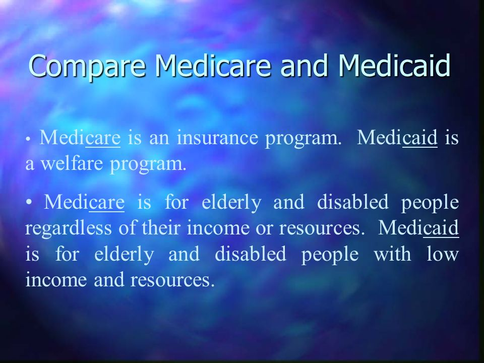 Compare Medicare and Medicaid Medicare is an insurance program.