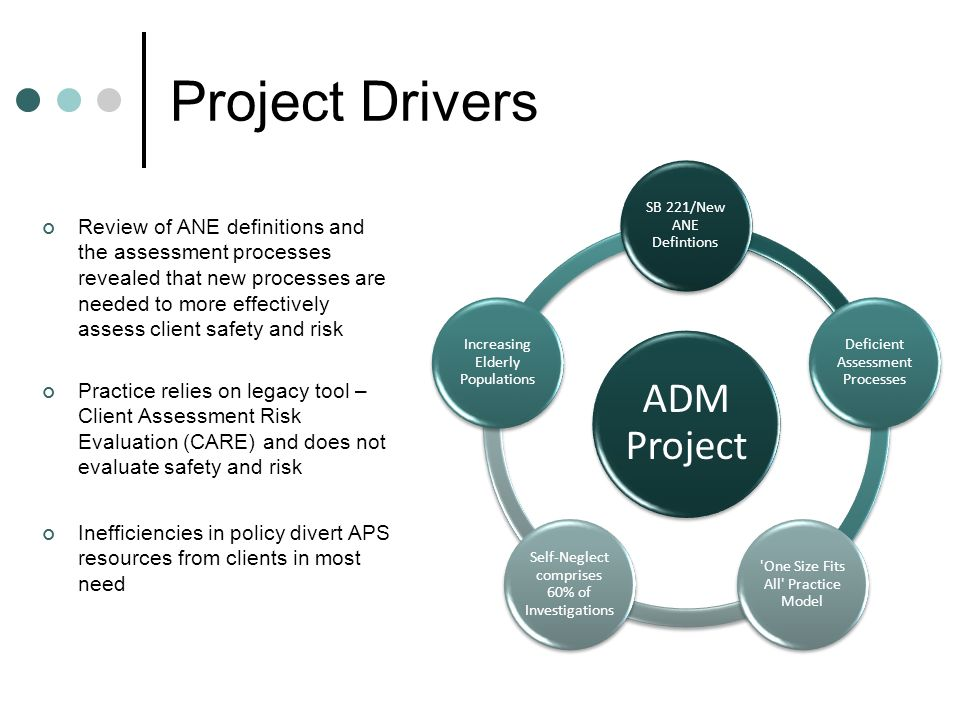 Project Drivers Review of ANE definitions and the assessment processes revealed that new processes are needed to more effectively assess client safety and risk Practice relies on legacy tool – Client Assessment Risk Evaluation (CARE) and does not evaluate safety and risk Inefficiencies in policy divert APS resources from clients in most need ADM Project SB 221/New ANE Defintions Deficient Assessment Processes One Size Fits All Practice Model Self-Neglect comprises 60% of Investigations Increasing Elderly Populations