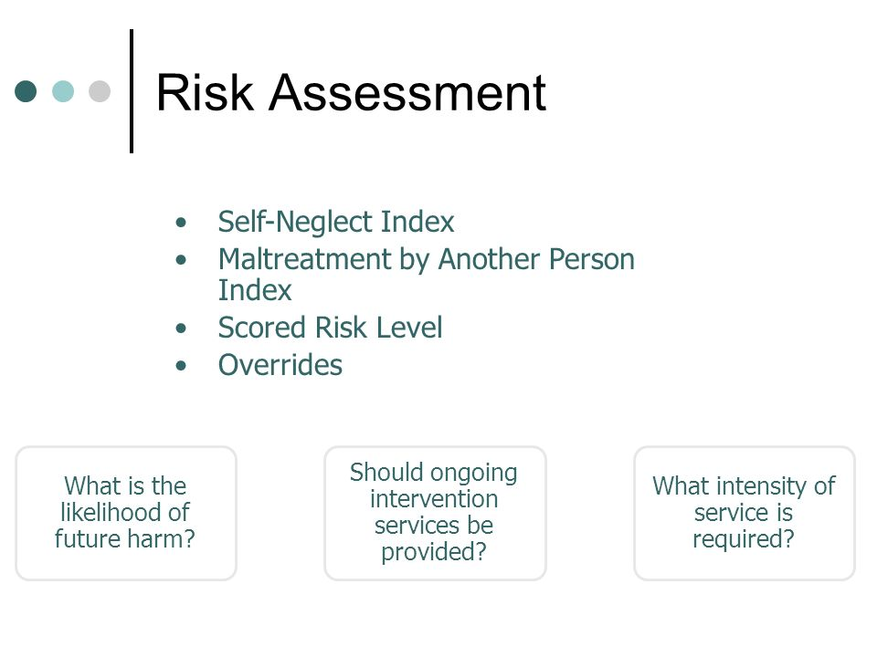 Risk Assessment Self-Neglect Index Maltreatment by Another Person Index Scored Risk Level Overrides Components What is the likelihood of future harm.