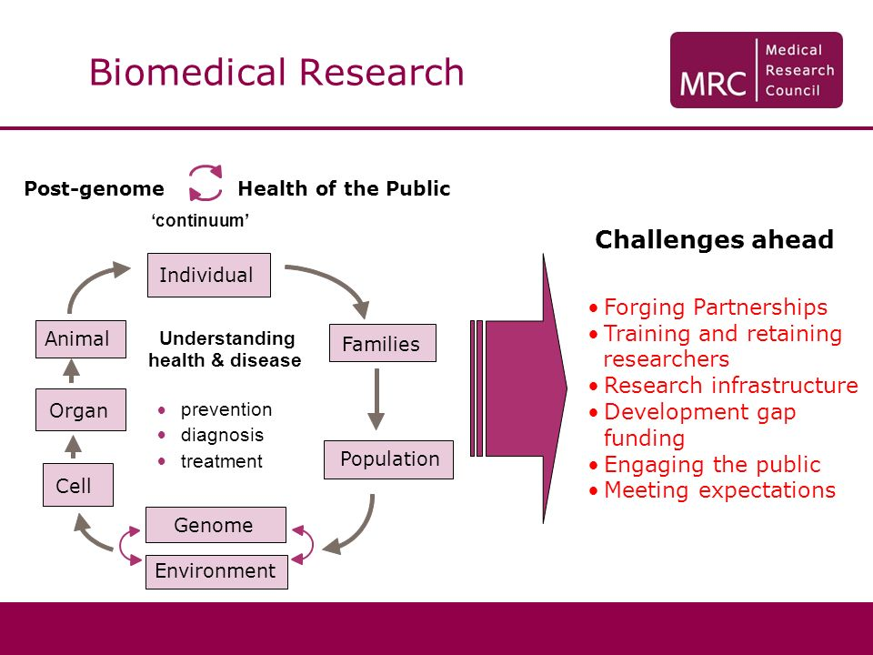 Biomedical Research Challenges ahead Post-genomeHealth of the Public Individual Understanding health & disease Cell Organ Animal Population Families continuum prevention diagnosis treatment Genome Environment Forging Partnerships Training and retaining researchers Research infrastructure Development gap funding Engaging the public Meeting expectations