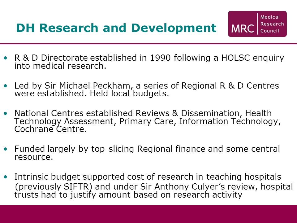DH Research and Development R & D Directorate established in 1990 following a HOLSC enquiry into medical research.
