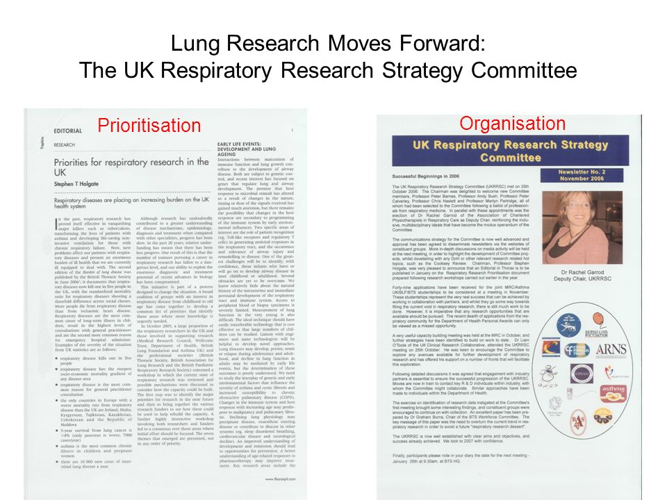 Lung Research Moves Forward: The UK Respiratory Research Strategy Committee Prioritisation Organisation
