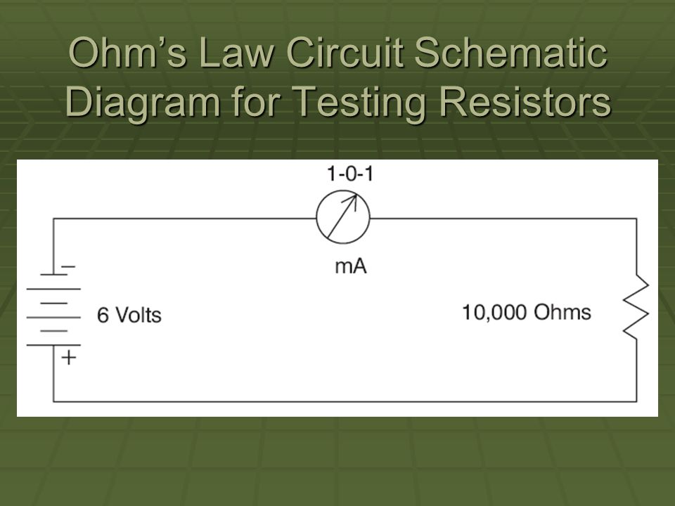 Ohms Law Circuit Schematic Diagram for Testing Resistors
