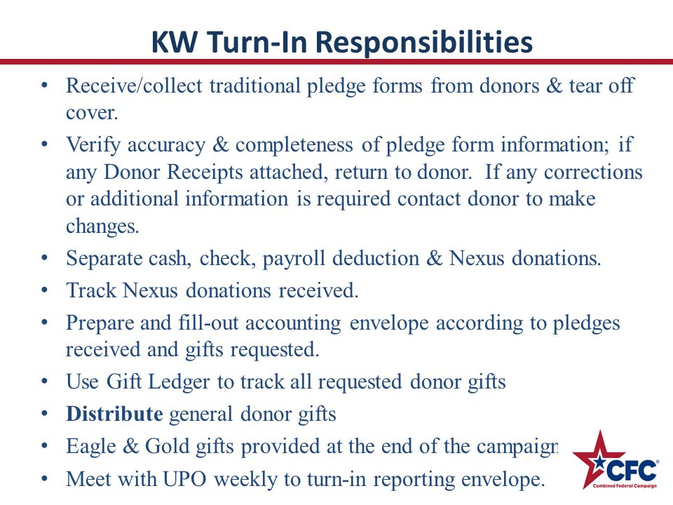 KW Turn-In Responsibilities Receive/collect traditional pledge forms from donors & tear off cover.