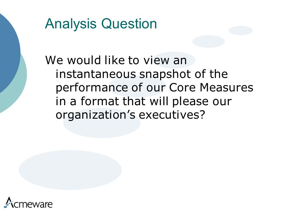 Analysis Question We would like to view an instantaneous snapshot of the performance of our Core Measures in a format that will please our organizations executives