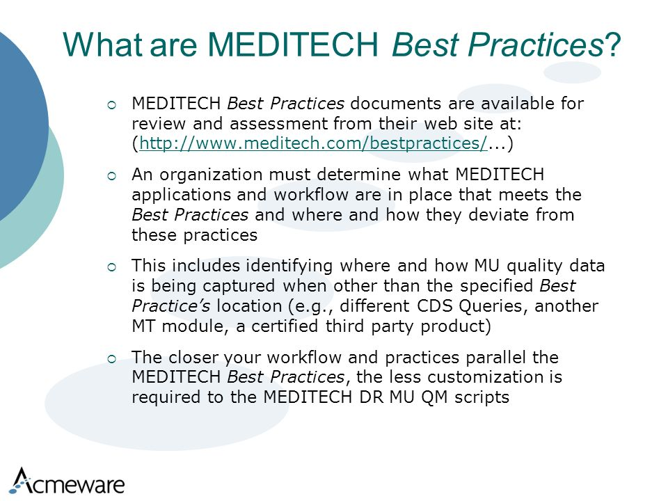 What are MEDITECH Best Practices.