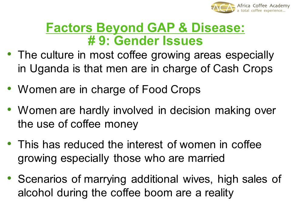 Factors Beyond GAP & Disease: # 9: Gender Issues The culture in most coffee growing areas especially in Uganda is that men are in charge of Cash Crops Women are in charge of Food Crops Women are hardly involved in decision making over the use of coffee money This has reduced the interest of women in coffee growing especially those who are married Scenarios of marrying additional wives, high sales of alcohol during the coffee boom are a reality