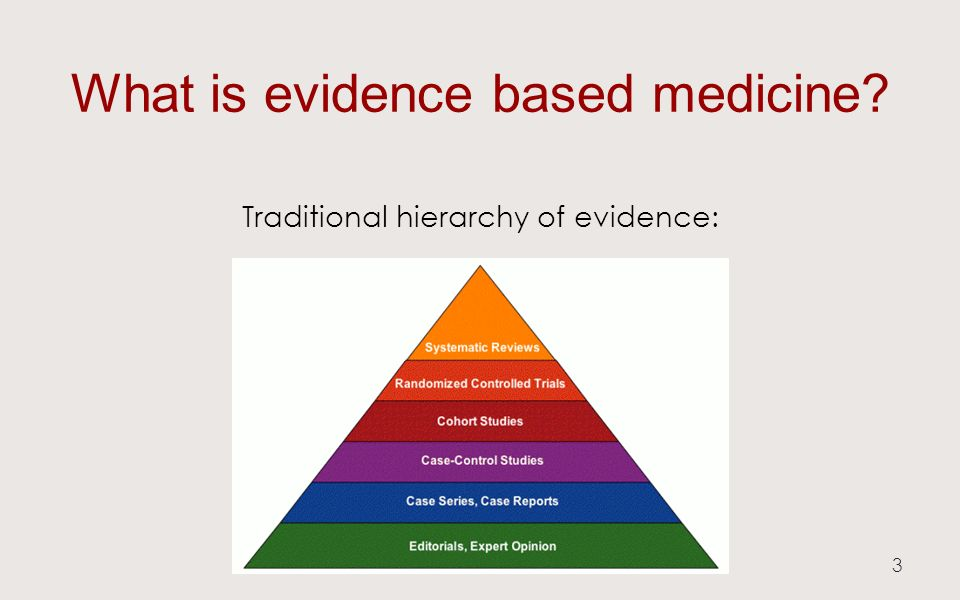 What is evidence based medicine Traditional hierarchy of evidence: 3